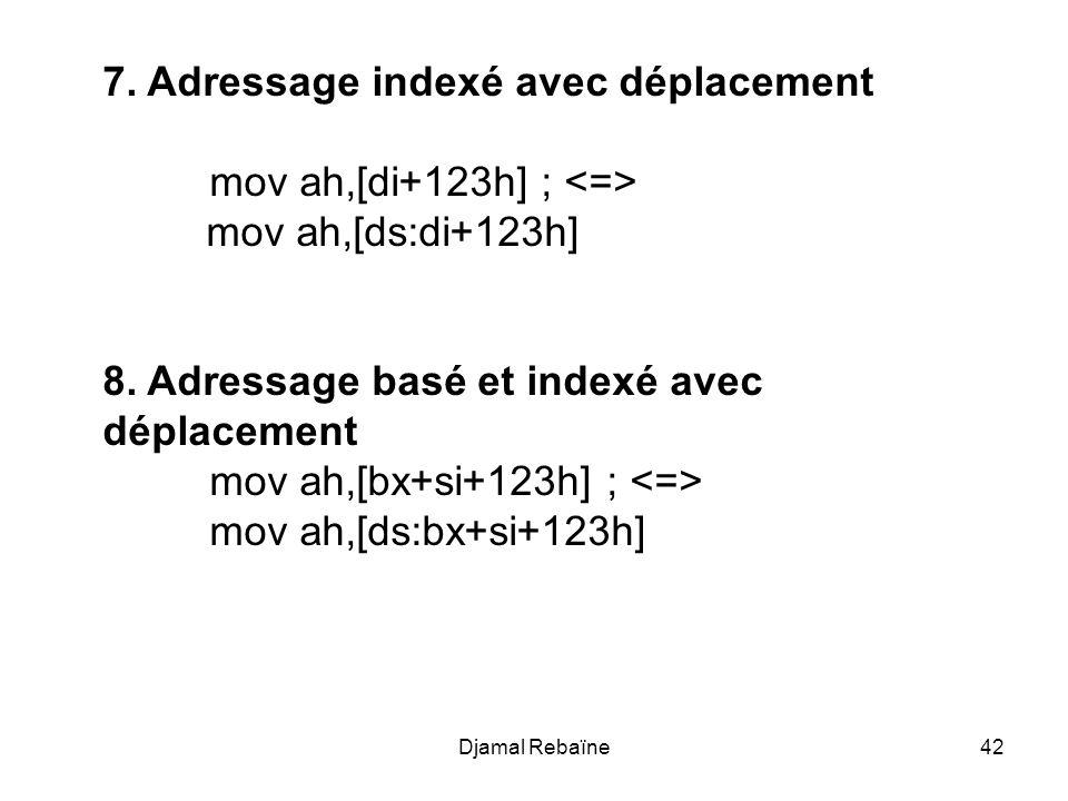 7. Adressage indexé avec déplacement mov ah,[di+123h] ; <=>